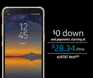 $0 down and payments starting at $28.34/mo w/AT&T Next(R)*